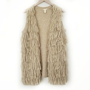 H&M Fringed Oatmeal Open Cardigan Sweater Vest